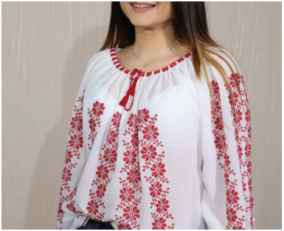 Romanian blouse - Women - with apple flowers red