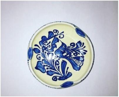 Handcrafted ceramic ashtray, blue